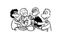 Zeichnung von Menschen beim Kaffee trinken